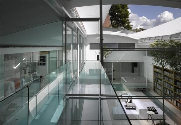 A house with a retractable roof