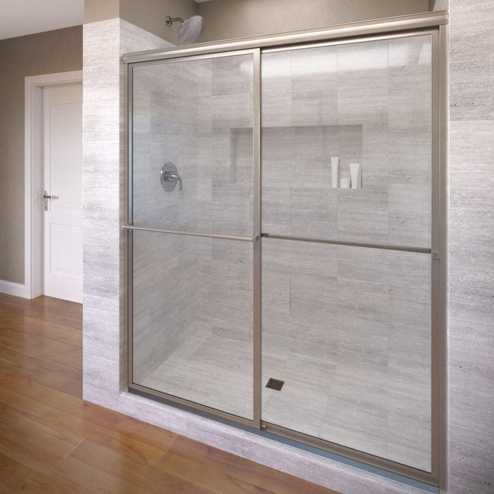 Basco Deluxe 47 In X 71 1 2 In Clear Framed Sliding Shower Door In Brushed Nickel Glass Shower Doors Shower Doors Glass Shower