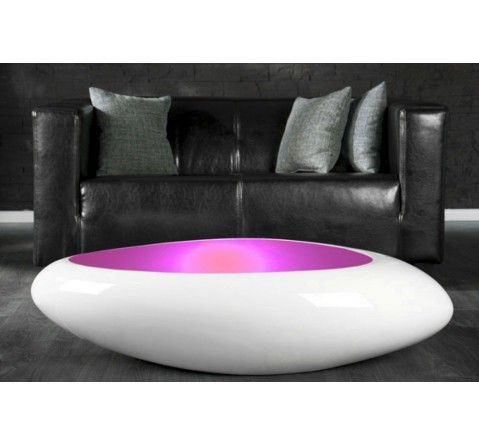 Table Basse Design Blanc Laque Galet Ii Lumineuse Led Table Basse Design Table Basse Led