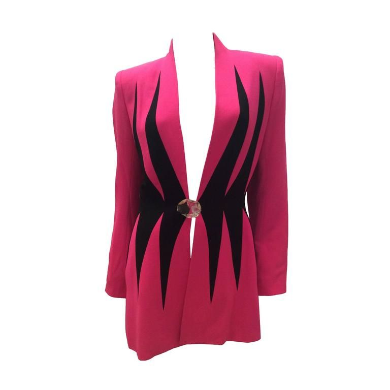 1980's Catherine Gerard Magnificent Pink and Black Evening Jacket 1