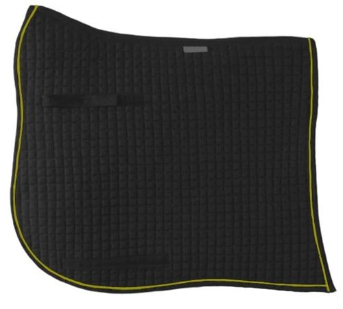 Swan-Tail / Swallow-Tail Dressage Saddle Pad.  Black with Gold Piping/Trim.  PRI Equine #Dressage #HorseTack #Equestrian