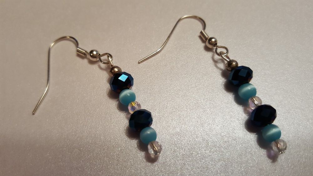 handmade beaded dangle  earrings blue cats eye and teal crystals made in the USA #Handmade #DropDangle