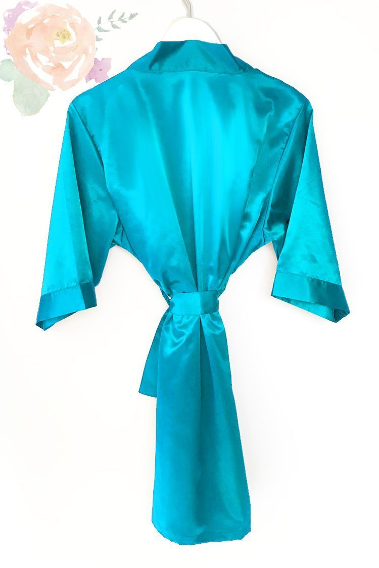b22f5a72d7c3 Tiffany Blue Satin Kimono Robe