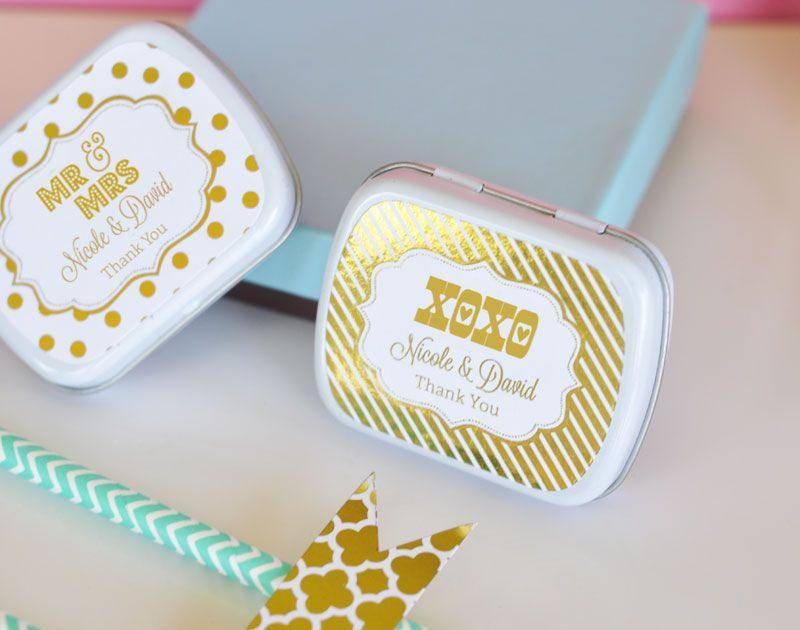 Personalized Metallic Foil Baby Mint Tins Contents Not Included
