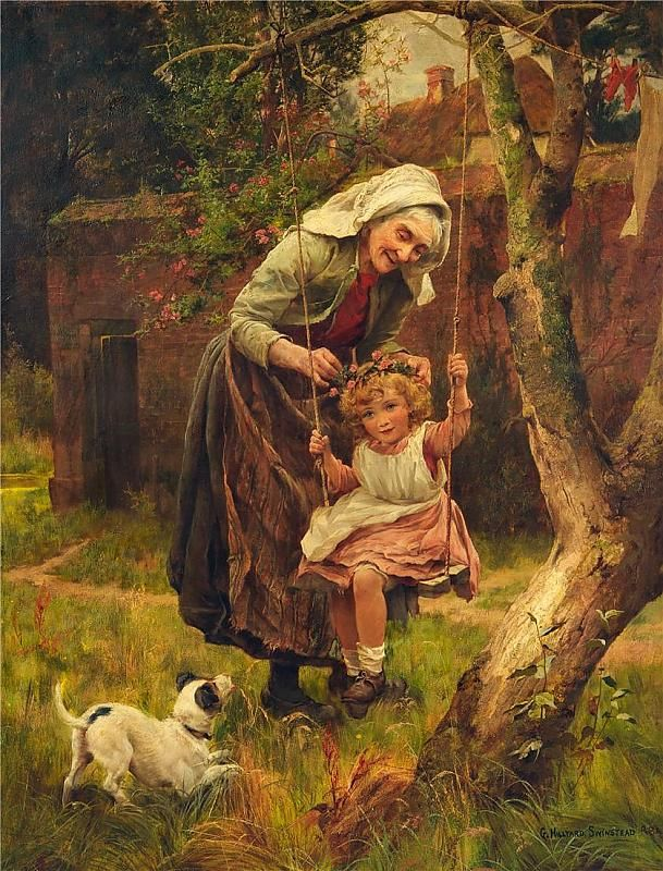 WITH GRANDMOTHER, BY GEORGE HILLYARD SWINSTEAD.      Se você tem vovó vá vela neste natal , não à deixe só.