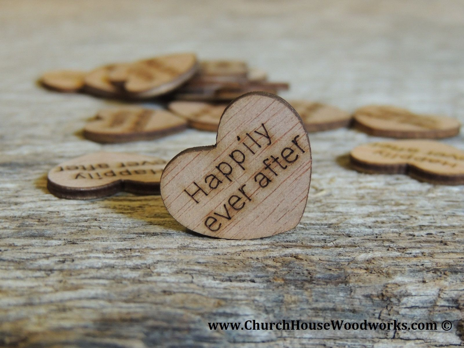 Happily Ever After Wood Hearts 100 Ct 1 Inch Wood Themed Wedding Wooden Hearts Rustic Wedding Centerpieces
