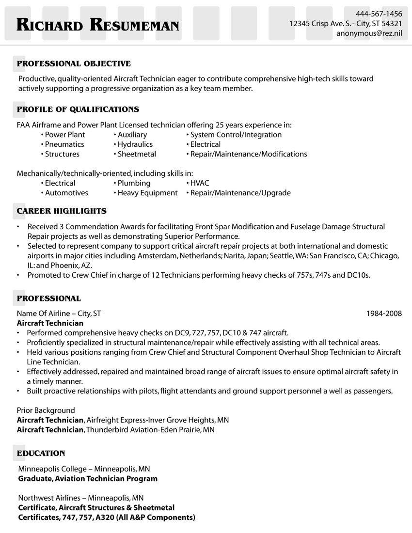 Aircraft Mechanic Resume Template Computer Proficiency Resume Skills Examples  Httpwww