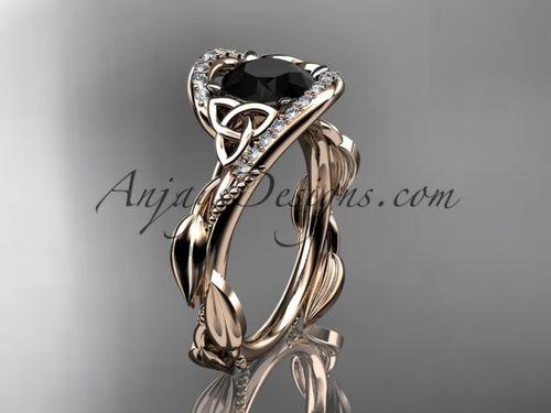 Celtic Platinum Ring Diamond Black Pearl Engagement Set For Her