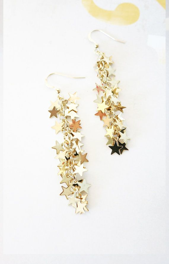 Thousands Gold Stars Filled Earrings Waterfall Like In Long Magical Fairy Star And Moon