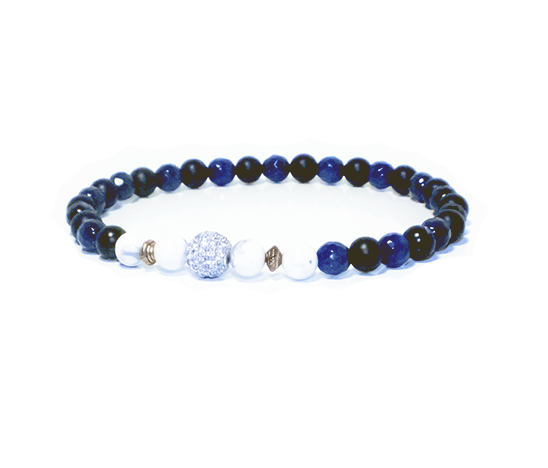 men's 6mm matte onyx blue agate with pave