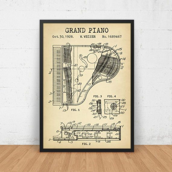 Grand piano patent print digital download grand piano design grand piano patent print digital download grand piano design malvernweather Gallery