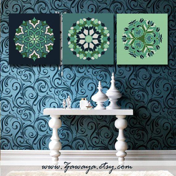 Navy Blue And Green Wall Decor : Blue green navy canvas art print arabic ornamentation wall