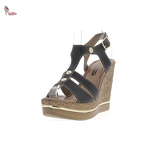 Chaussures Sandales Compensées De 12cm 41 Talon Femme Noires DYeWEH92I