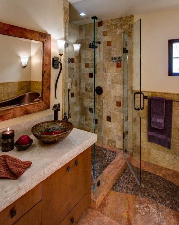 Zillow Rustic Bathrooms: Smooth Pebble Shower Floor
