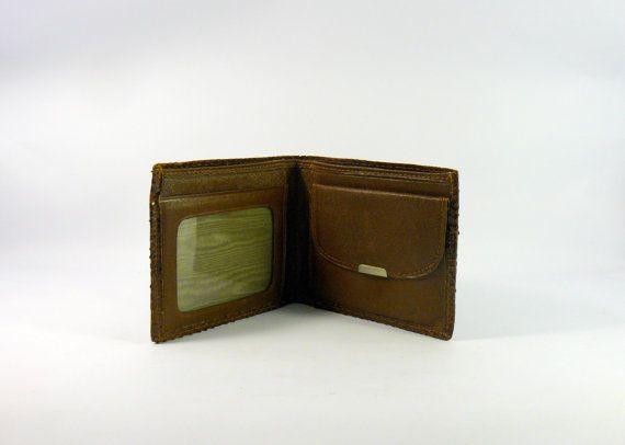 Vintage 1970s deadstock men's wallet. Snakeskin leather brown men wallet