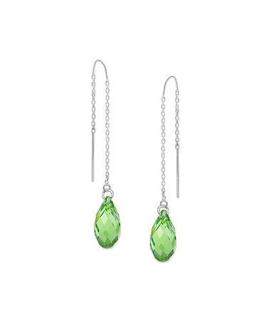Love This Peridot Swarovski Crystal Sterling Silver Teardrop Threader Earrings On Zulily Zulilyfinds