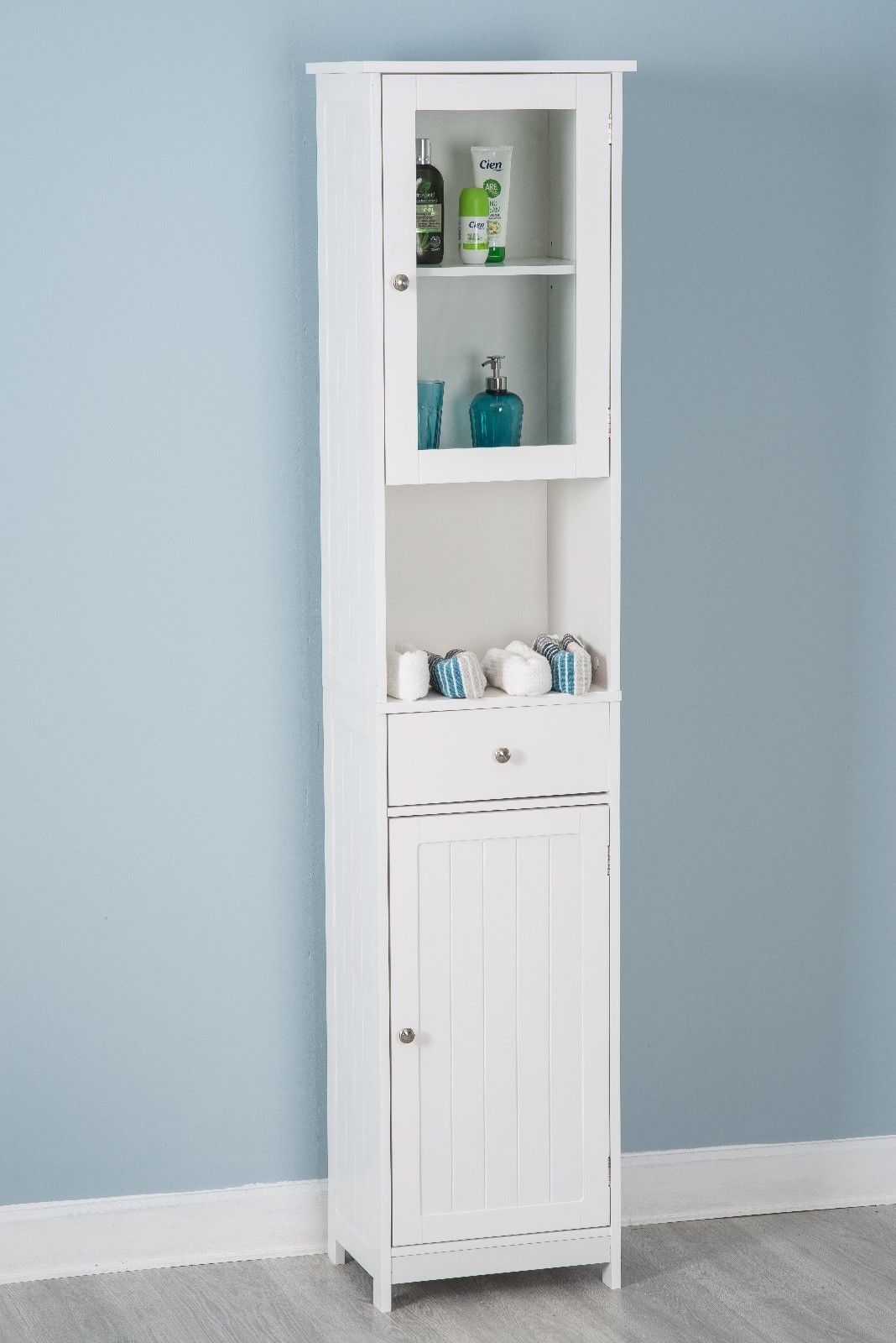 Tallboy Double Door Wall Mounted White Storage
