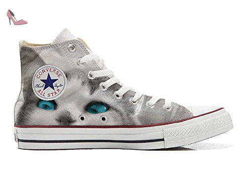 Converse Customized Chaussures Personnalisé et imprimés UNISEX (produit  artisanal) White cat with blue eyes - size EU33 - Chaussures mys  ( Partner-Link) bf16db5474045