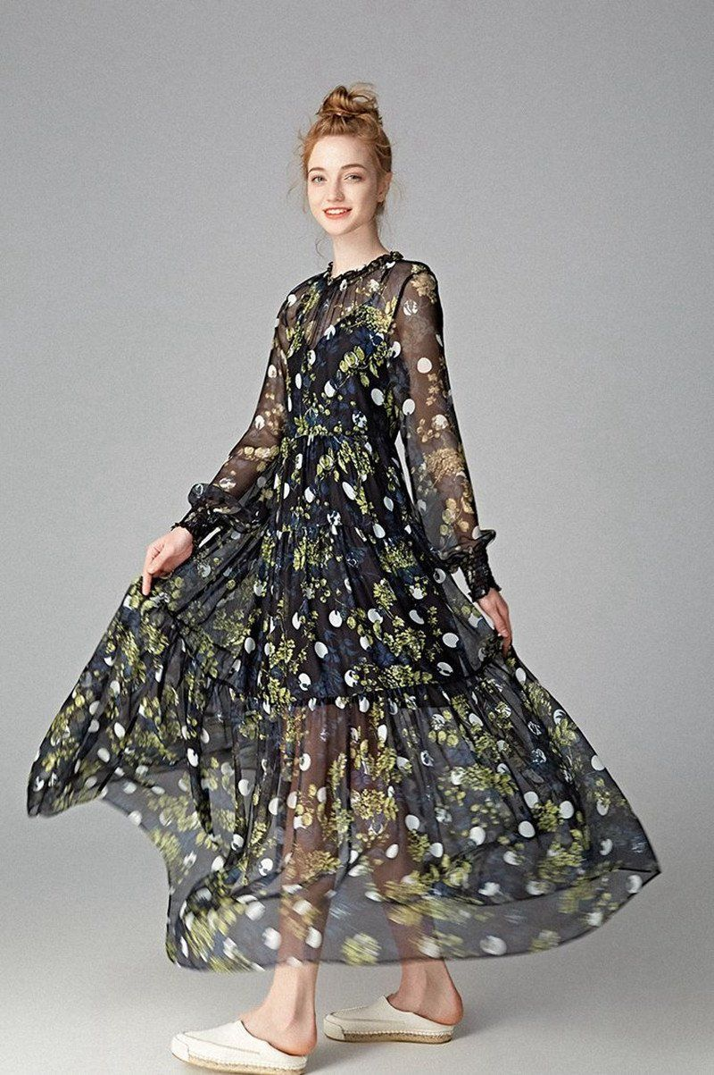 Silk Romantic Fashion Summer and Spring Floral Long Dresses Q3401