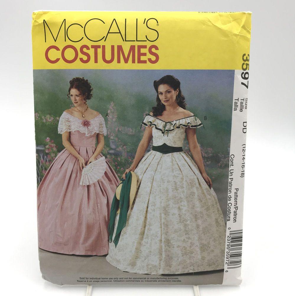 McCalls 3597 Womens Civil War Era Southern Belle Gown Dress Costume ...