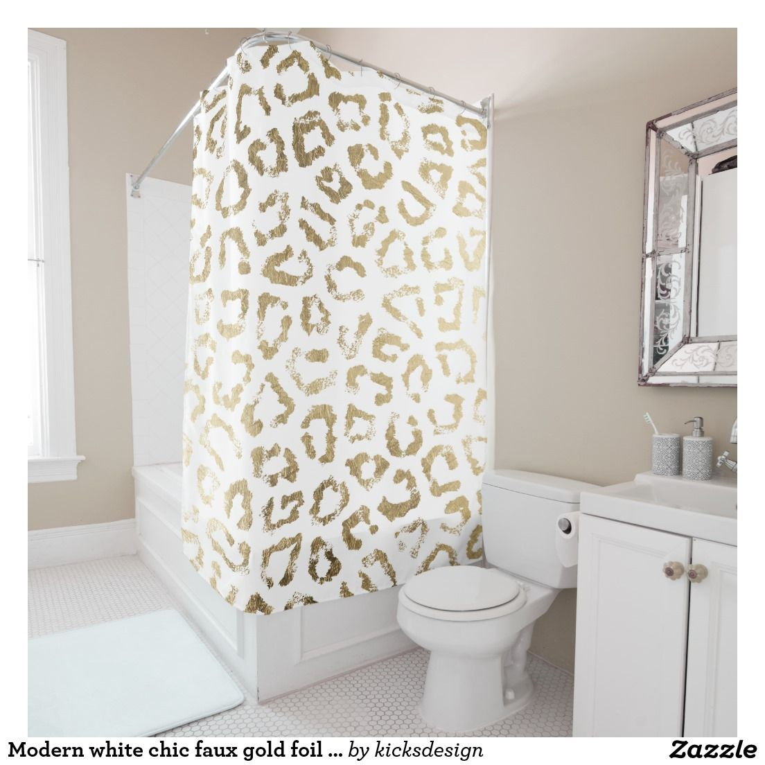 Modern white chic faux gold foil leopard print shower curtain ...