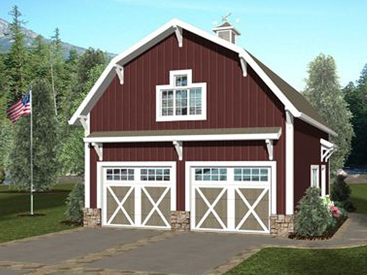 Carriage House Plan, 007G 0019, 565 Sf Living Space W/ 672 Sf