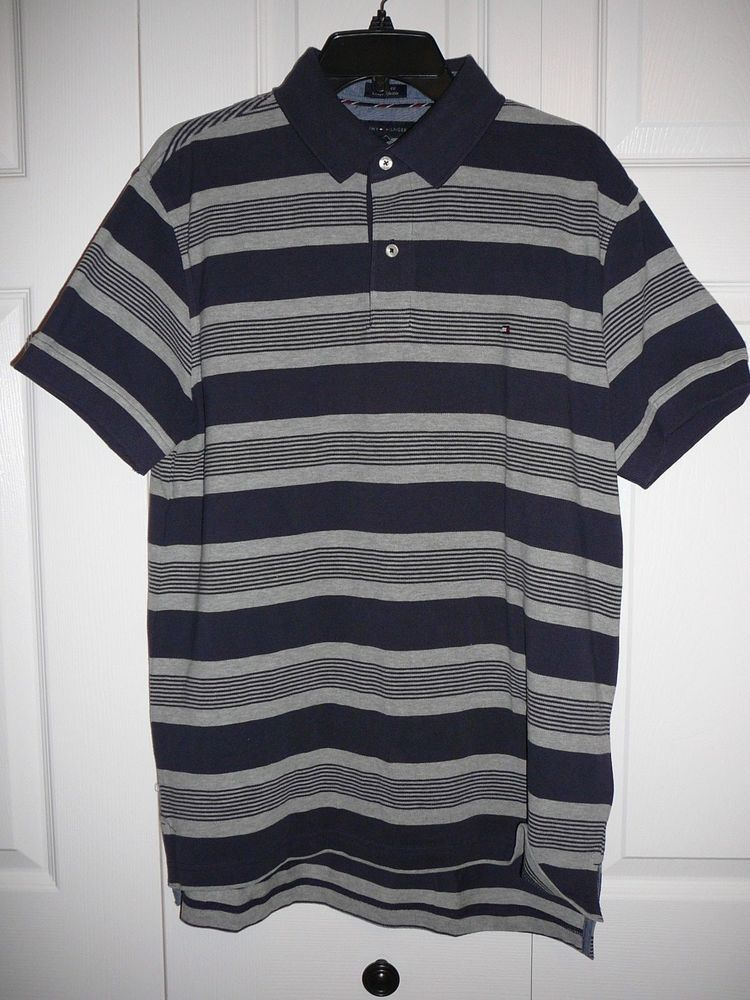 50e2b005c TOMMY HILFIGER Men  Short Sleeve Polo Blue Stripe Shirt Sz.L Custom Fit   TommyHilfiger  PoloRugby