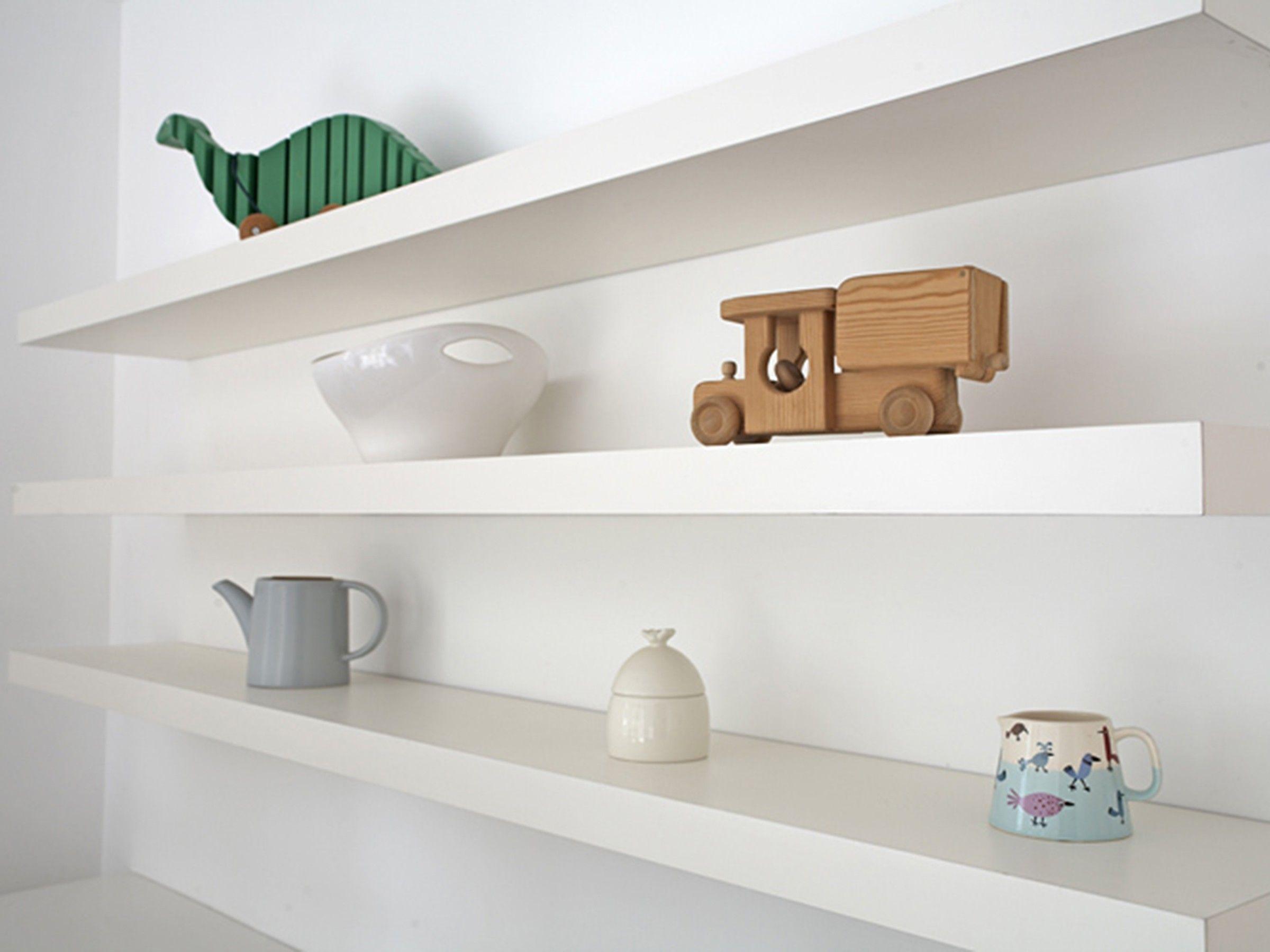 Download Wallpaper Long White Floating Kitchen Shelves
