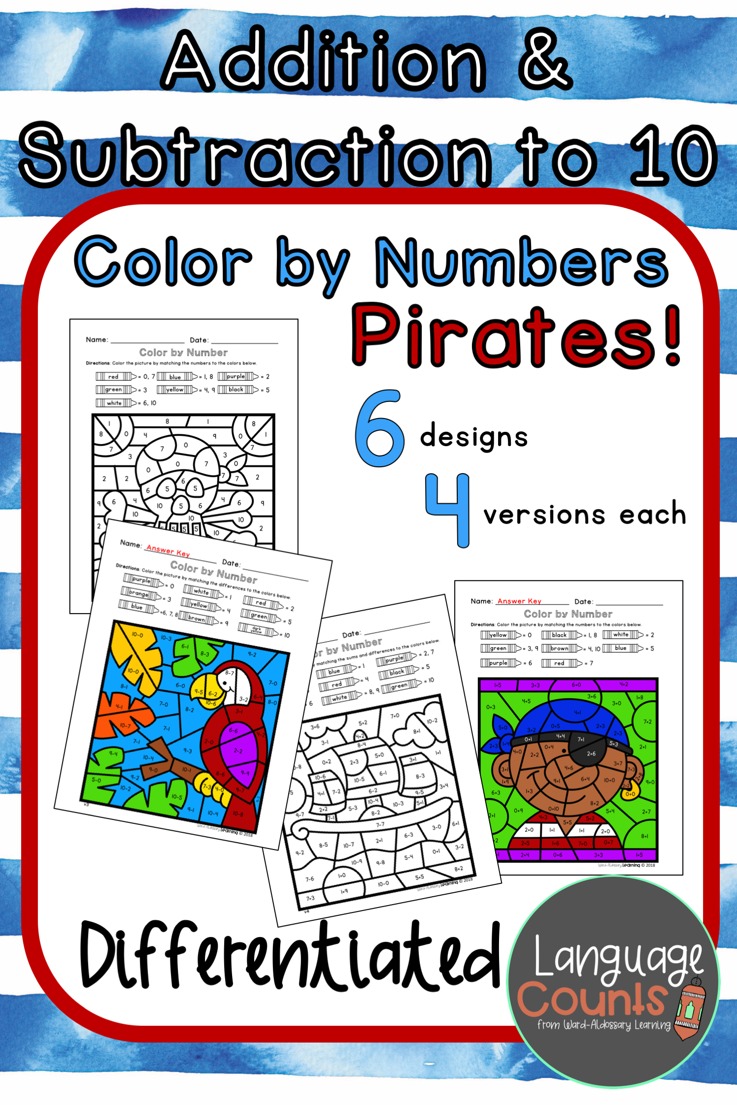 Differentiated Pirate Color By Number To 10 Addition