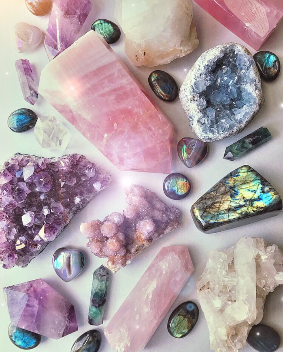 All Of These Beautiful Crystals Are Available On The Rocks With Sass Website Rose Quartz Towers Flashy Labradorite Crystal Aesthetic Crystals Energy Crystals