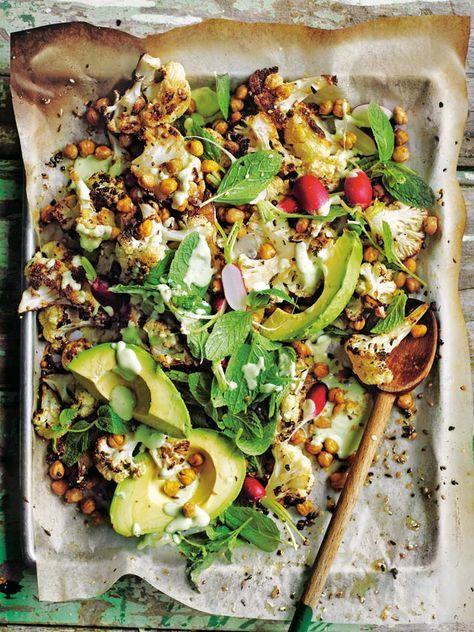 Dukkah Roasted Cauliflower Salad With Creamy Avocado Dressing