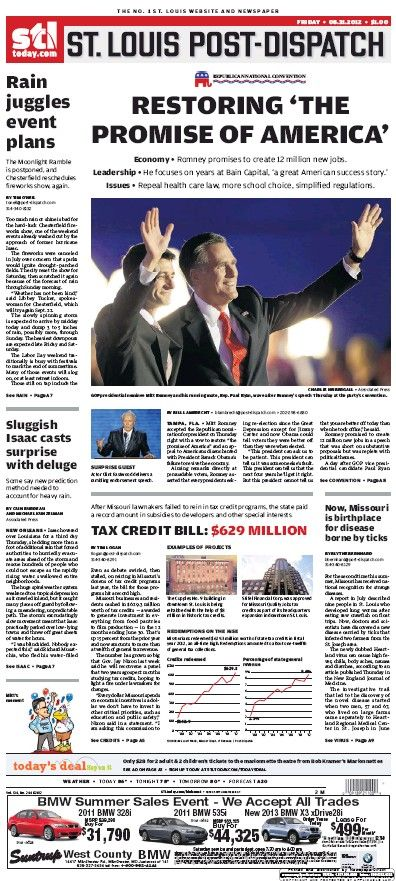 St. Louis Post-Dispatch August 31, 2012  #STL #newspapers