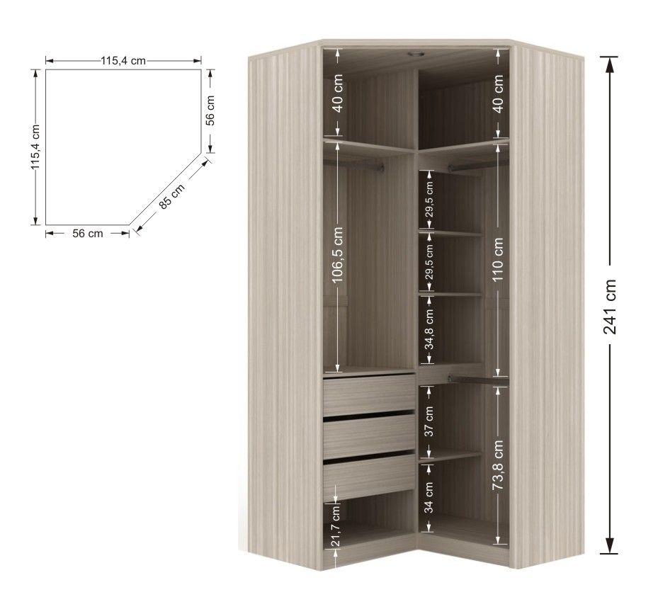 Resultado de imagem para closet em l medidas storage for Medidas closets modernos