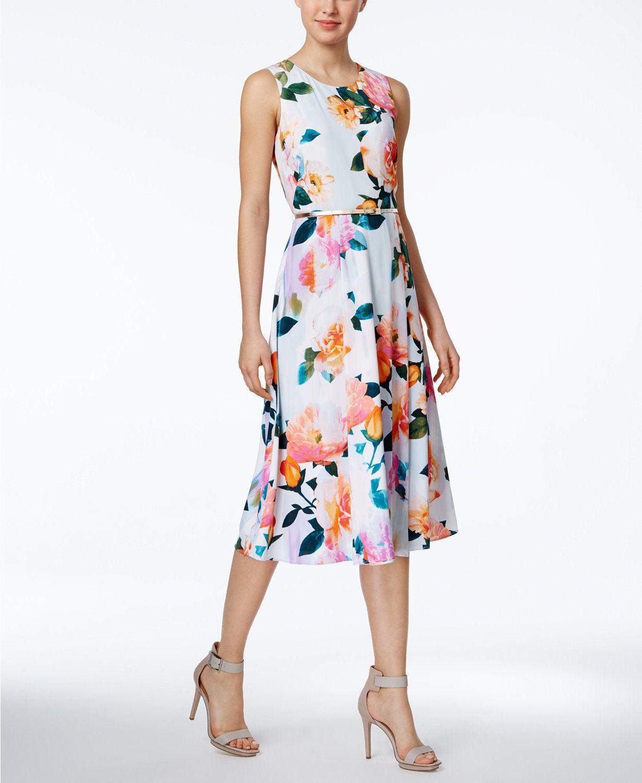 Calvin Klein Belted Floral Print Midi Dress |