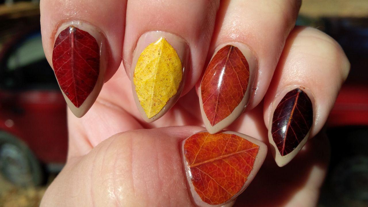 Big leaf nail design brown yellow and orange   nails   Pinterest