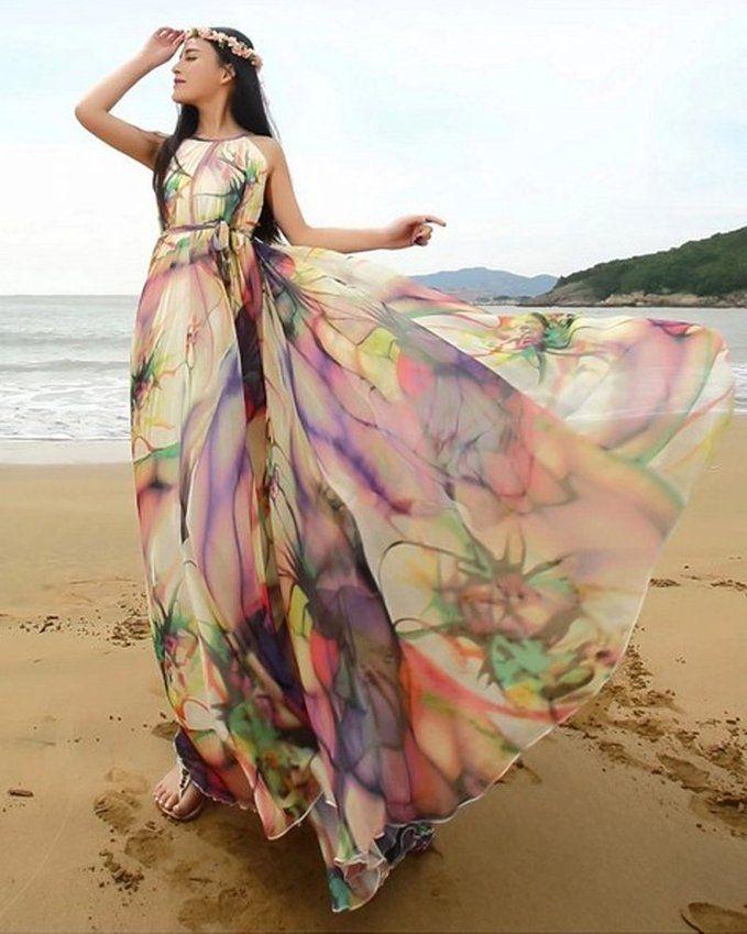 MedeShe Women s Chiffon Floral Holiday Beach Bridesmaid Maxi Dress Sundress   dd3320b7e