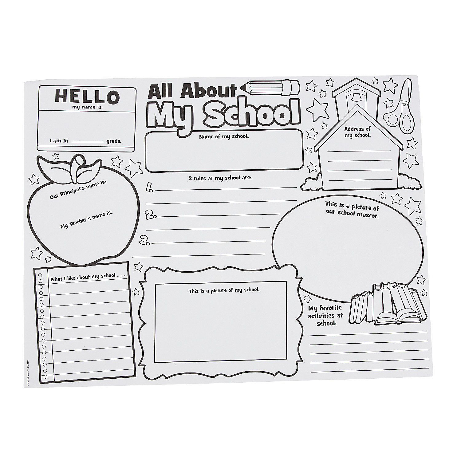 Color Your Own It S All About My School Posters