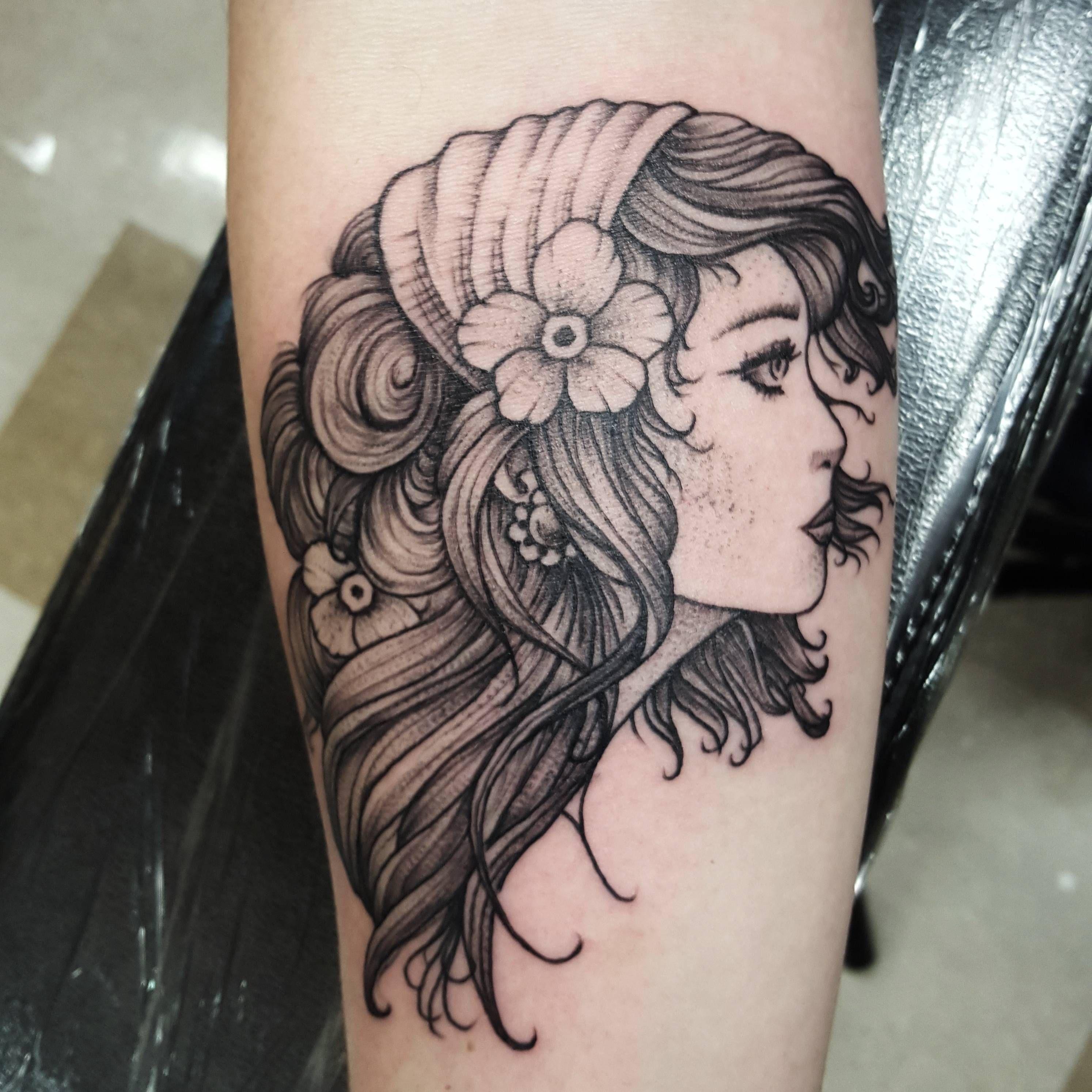 Gypsy Woman, Blackwork Style. By Patrick Thomas, Tattoo