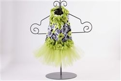 Exquisite Couture Party Tutu Dress in Lime/Grey