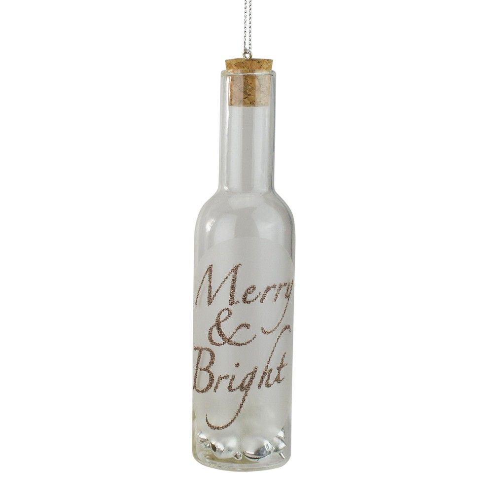 Roman 6 Glass Wine Bottle Inscribed Merry Bright With Jingle Bells Christmas Ornament Clear In 2020 Wine Bottle Crafts Christmas Wine Bottles Holiday Wine Bottles