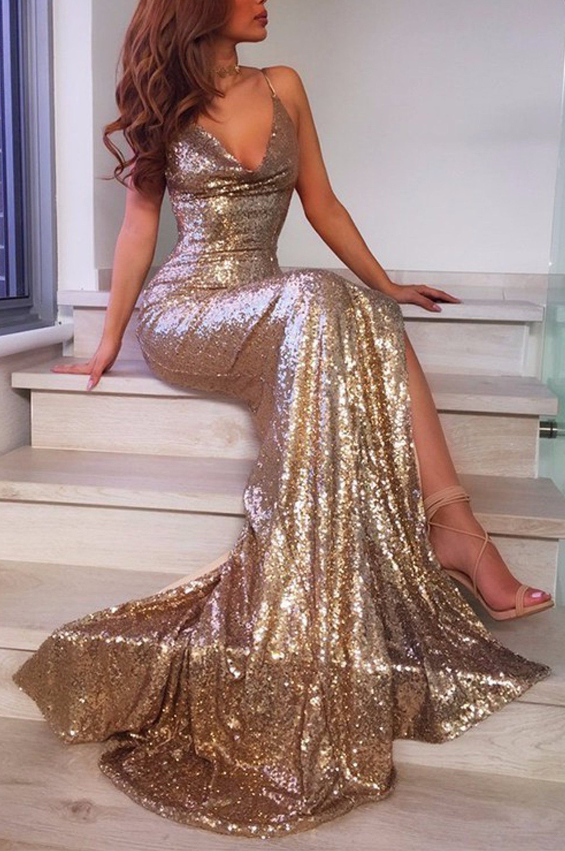 f3d97063f99ec Gorgeous Backless Prom Dresses - Sparkly Sequin Gold Tight Fitted Slit  Floor Length Mermaid Maxi Gown Dress 2018 to Wear to a Wedding as a Guest  Cocktail ...