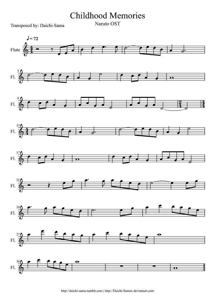 Inside Flute Sheet Music Sheet Music Anime Sheet Music
