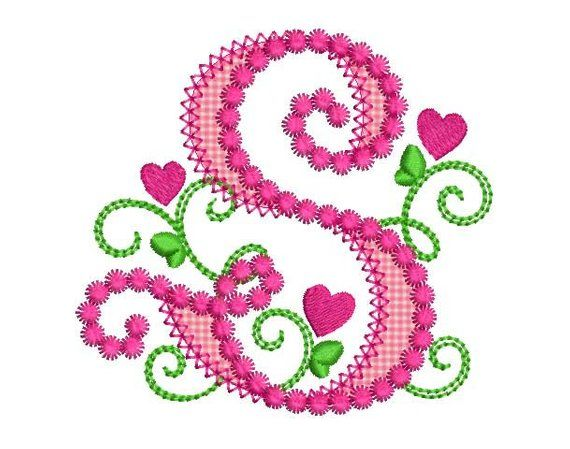 Cute Letter S Alphabet For Lil Princess Hearts Applique Embroidery