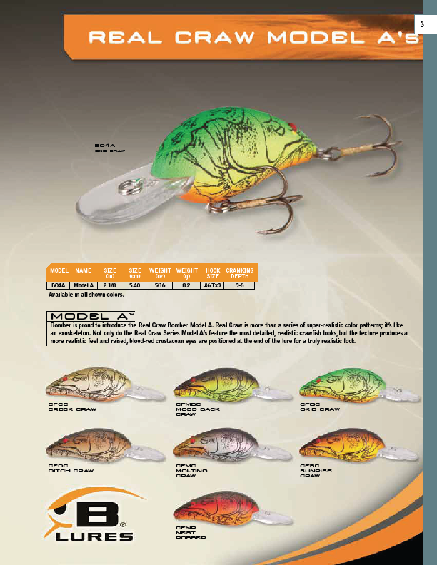 Bomber Model A Real Craw Color Chart  The Bomber Model A is