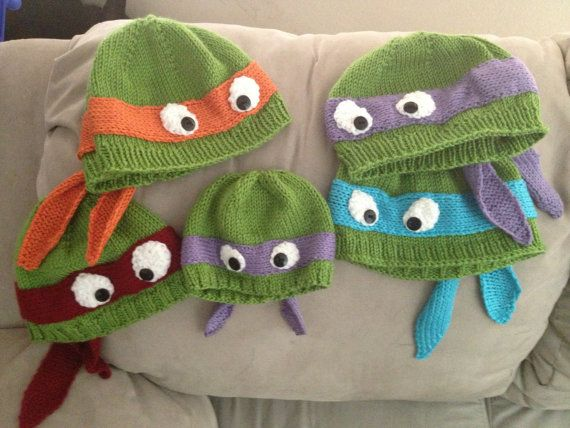 Hand-knit teenage mutant ninja turtle hat with ribbed or rolled ...