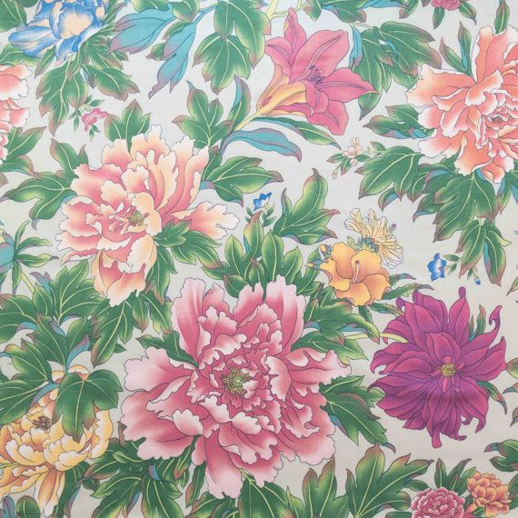 Vintage Cotton Perfect Pink Peonies Large Blossoms by FabricCult