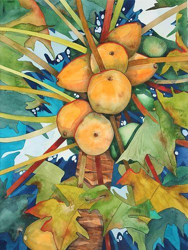 Art Original Watercolor Painting New Hawaiian Papaya Tree by Karin Novak Neal   eBay