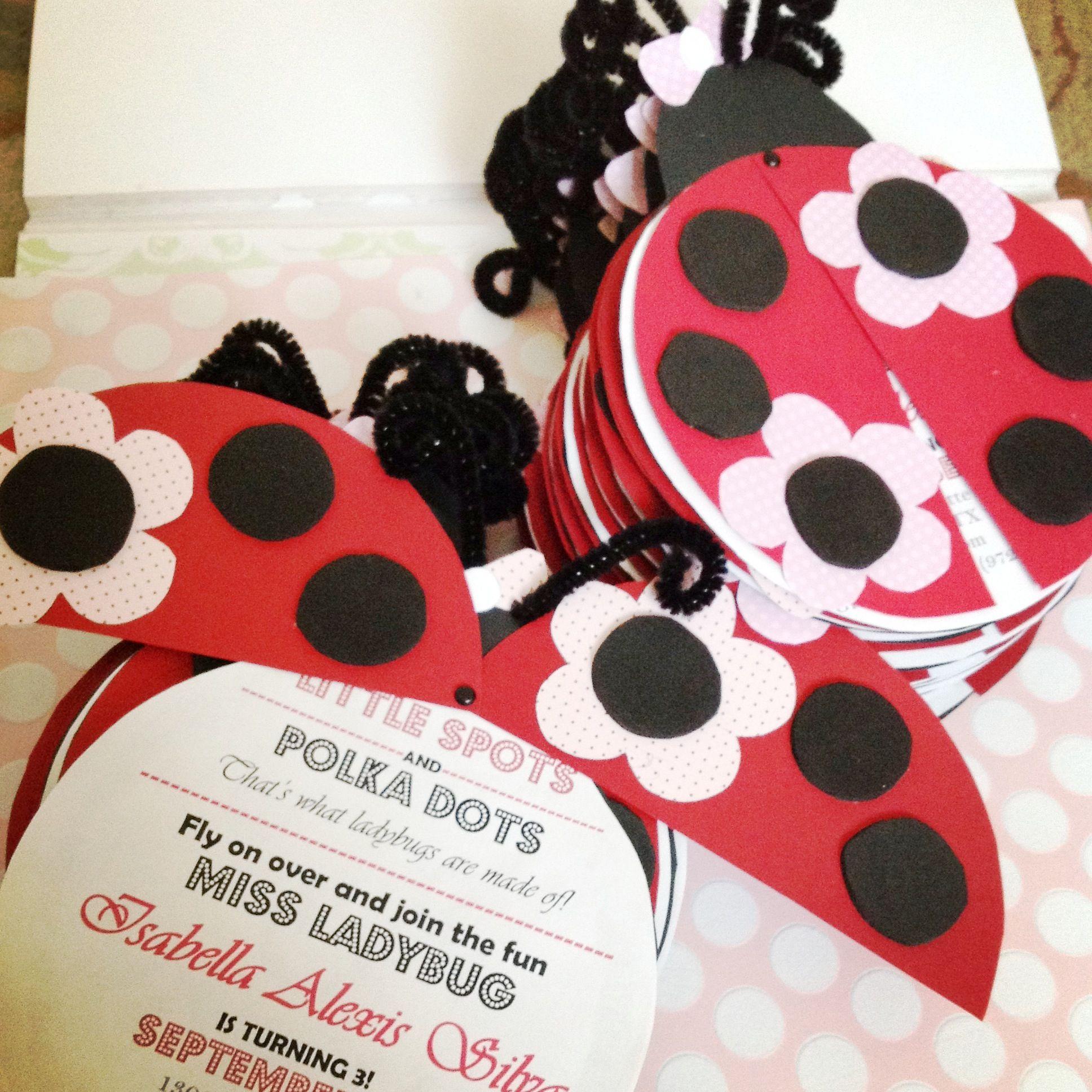 I made these ladybug invitations … | Pinteres…
