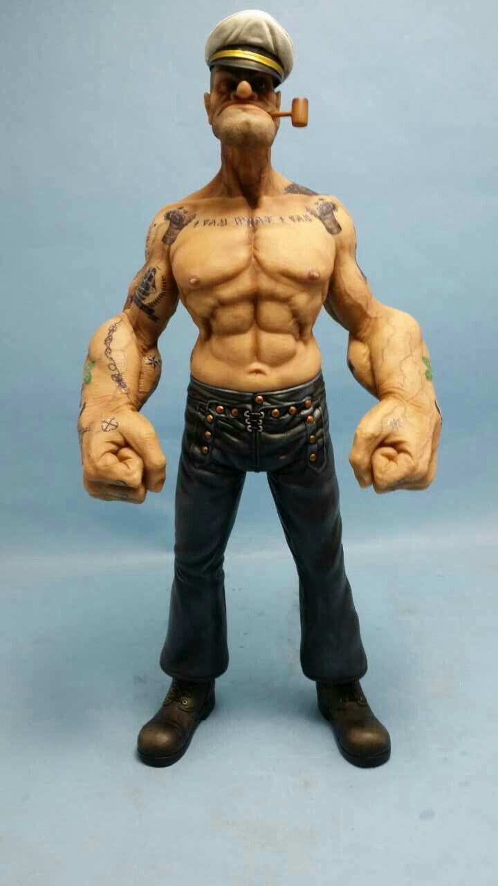 "In stock 12/""Popeye 1//6 FIGURE The Sailor Resin Statue Realistic TATTOO BODY Ver"
