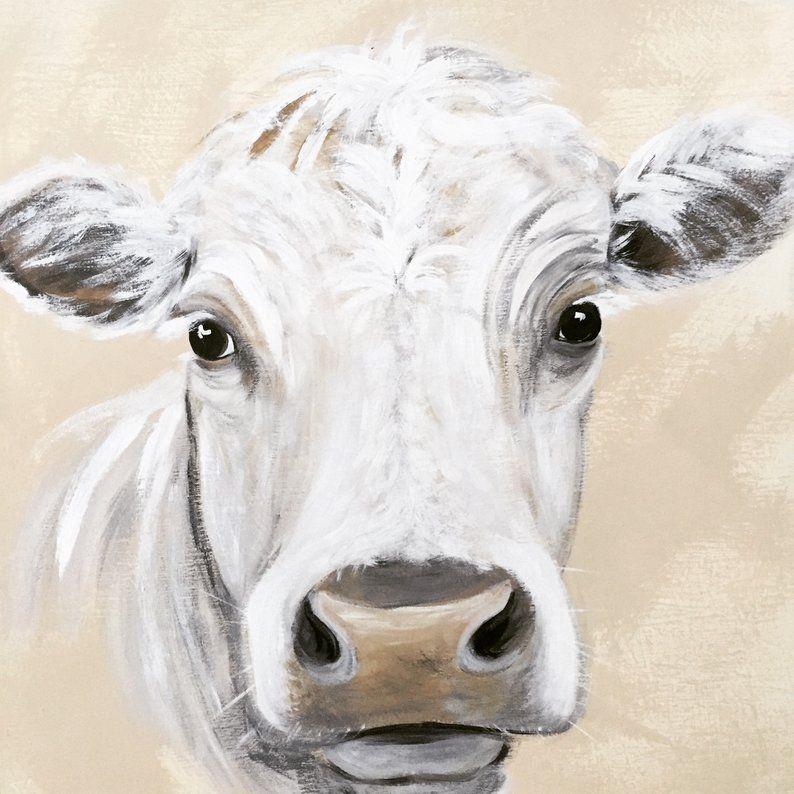 Farmhouse Decor Handpainted Cow Portrait Acrylic Painting